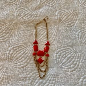 3/$15 Coral 💍 color with gold, costume necklace